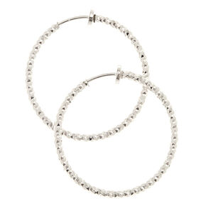 Silver 30MM Laser Cut Clip On Hoop Earrings,