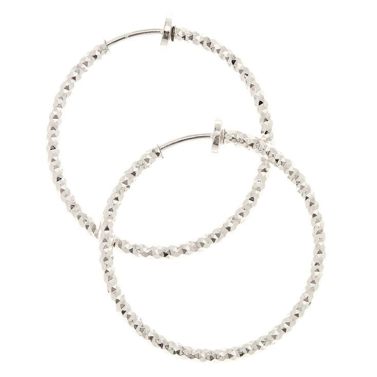 Silver 30MM Laser Cut Clip On Hoop Earrings,