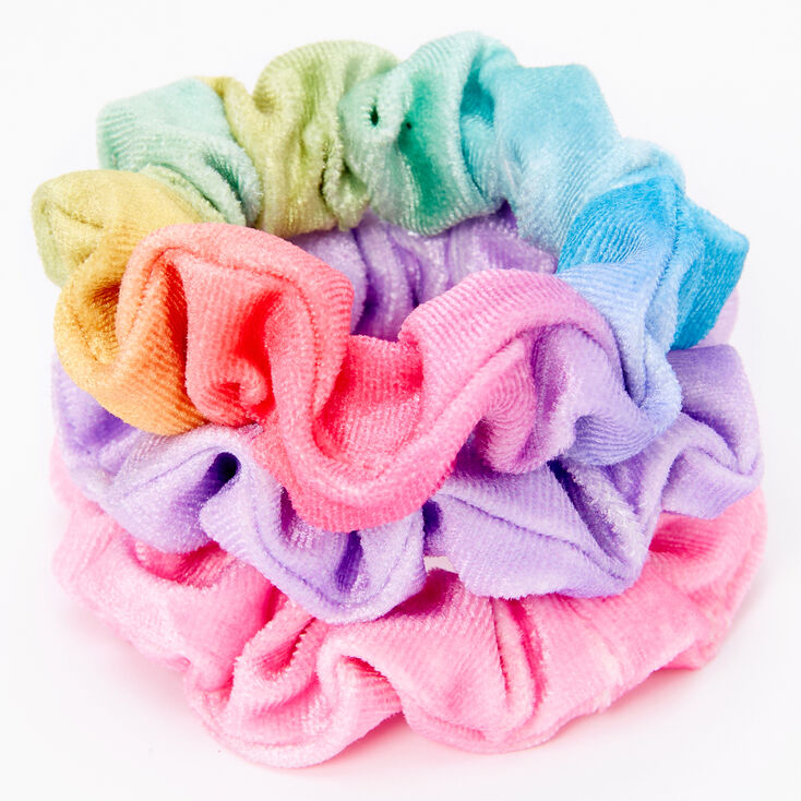 Claire's Club Small Rainbow Velvet Hair Scrunchies - 3 Pack,