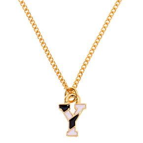 Gold Striped Initial Pendant Necklace - Y,