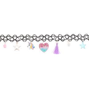 Unicorn Magic Charm Tattoo Choker Necklace,