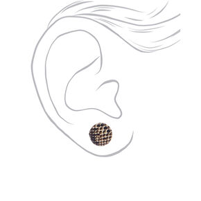Snake Print Button Stud Earrings - 3 Pack,