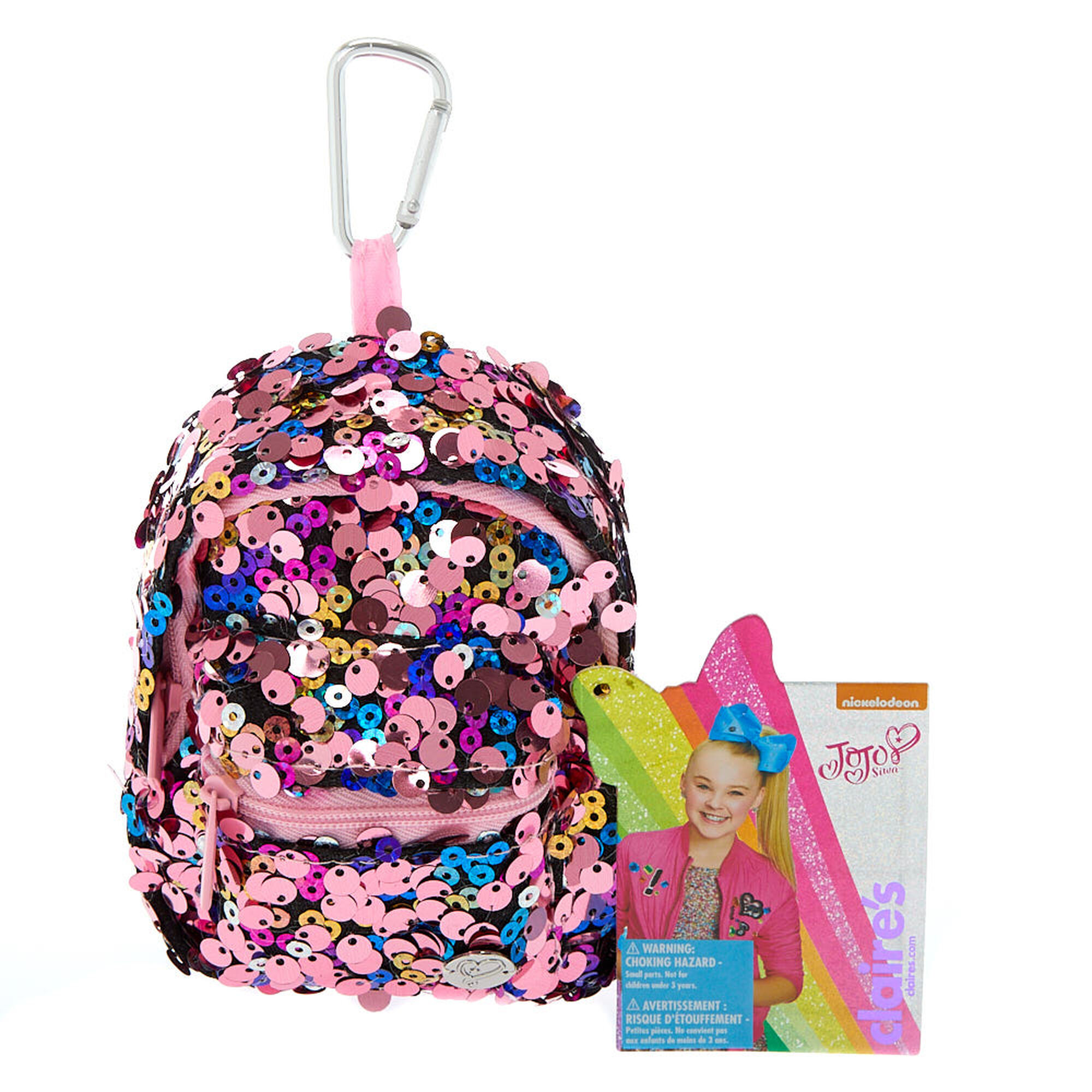 Jojo Siwa Reverse Sequin Mini Backpack Keyring Pink Claire S Us