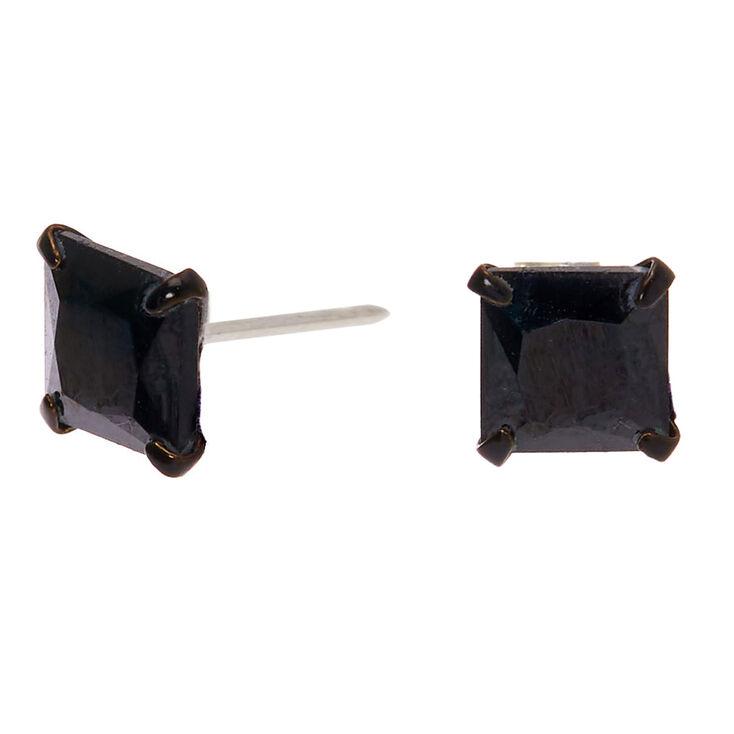 Black Cubic Zirconia Square Stud Earrings - 6MM,