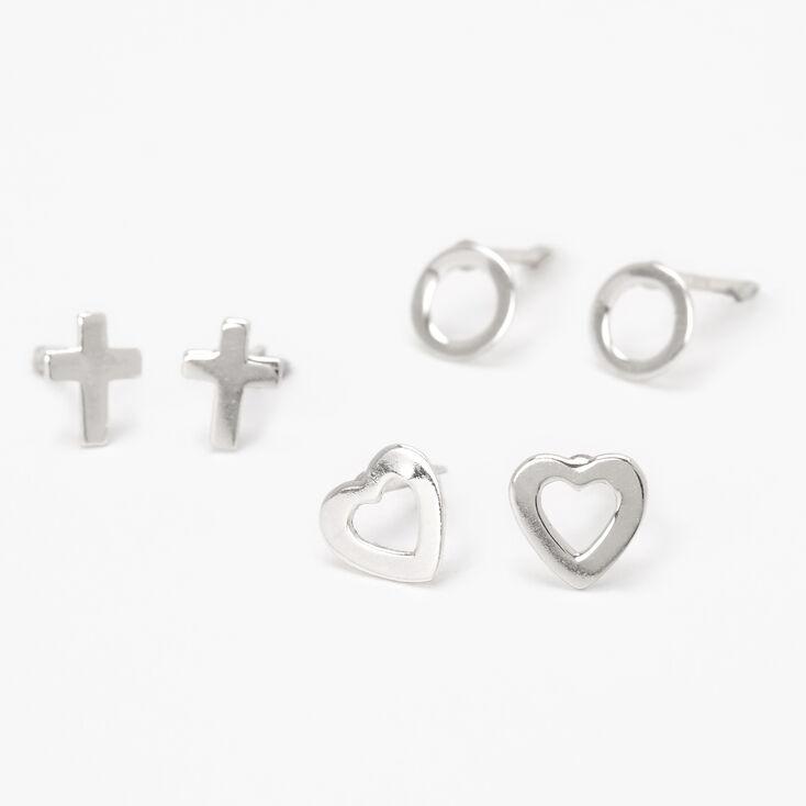 Set of Three Pairs Sterling Heart Earrings