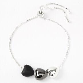 Silver, Hematite & Black Triple Heart Chain Bracelet,