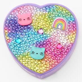 Rainbow Kitty Compact Heart Bling Lip Gloss Set - Purple,