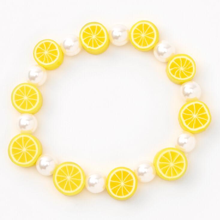 Lemon Slices Beaded Stretch Bracelet,