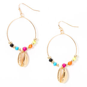 "Gold 2"" Beaded Cowrie Shell Circle Drop Earrings,"