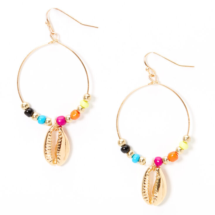 """Gold 2"""" Beaded Cowrie Shell Circle Drop Earrings,"""