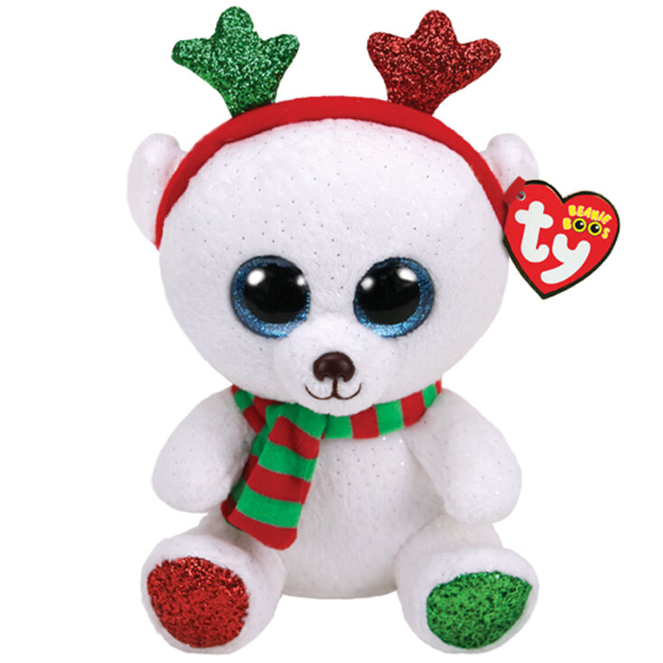 Ty Beanie Boo Large Frost the Christmas Bear Soft Toy  7b69f1f4965