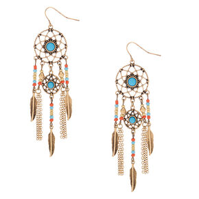 "Gold 3"" Beaded Dreamcatcher Drop Earrings - Blue,"
