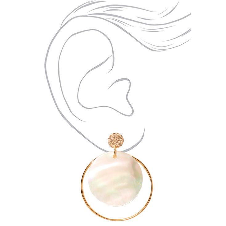 "Gold 2"" Iridescent Seashell Disc Drop Earrings,"