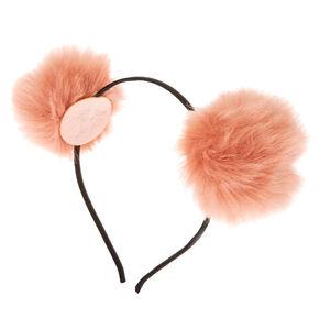 Serre-tête oreilles à pompons rose tendre,