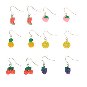 "1"" Glitter Fruit Drop Earrings - 6 Pack,"