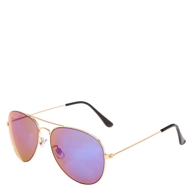2c82cb1eefba Rose Gold Toned Purple Tinted Aviator Sunglasses | Claire's US