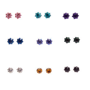 Rainbow Embellished Stud Earrings - 9 Pack,