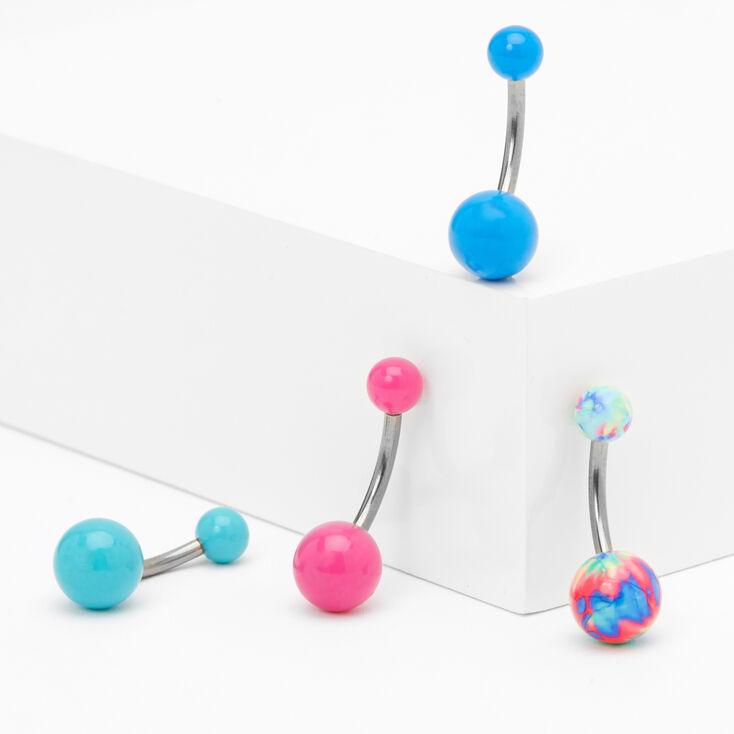 14G Blue & Pink Pastel Tie Dye Belly Rings - 4 Pack,