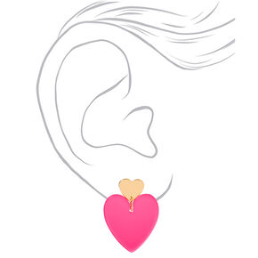 """Gold 2"""" Neon Double Heart Drop Earrings - Pink,"""