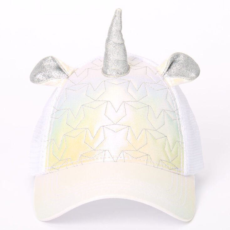 Iridescent Quilted Unicorn Trucker Hat - White,