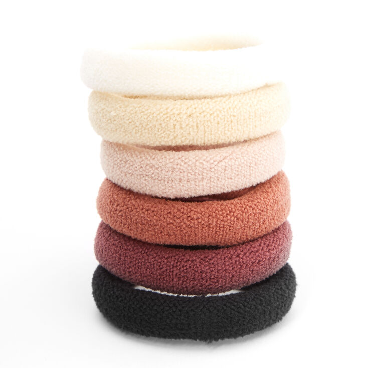 Plush Rolled Hair Ties - Neutrals, 6 Pack,