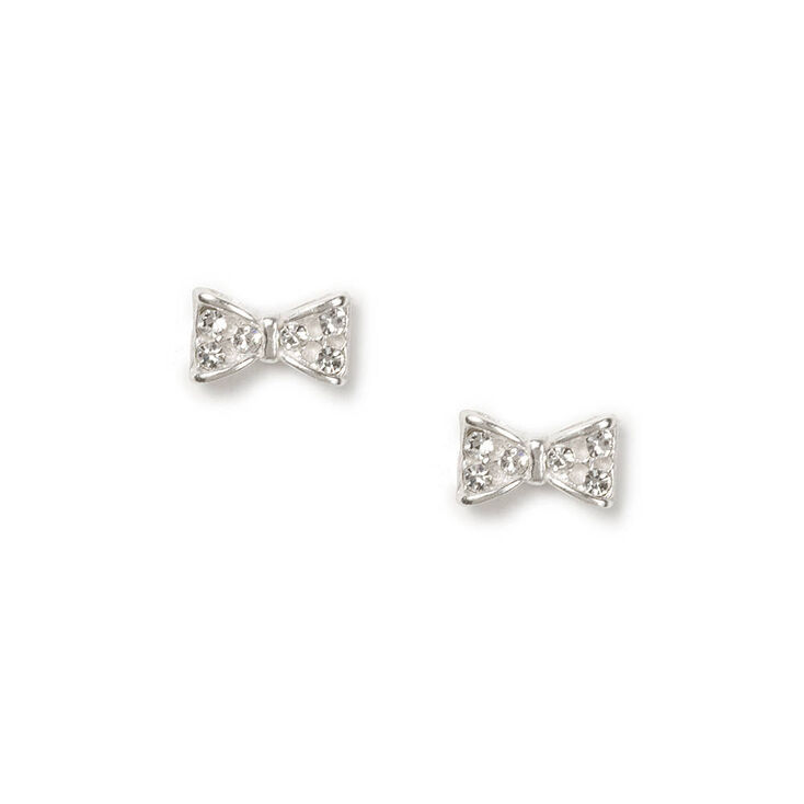 c66f31e49 Sterling Silver Pavé Crystal Bow Stud Earrings | Claire's US