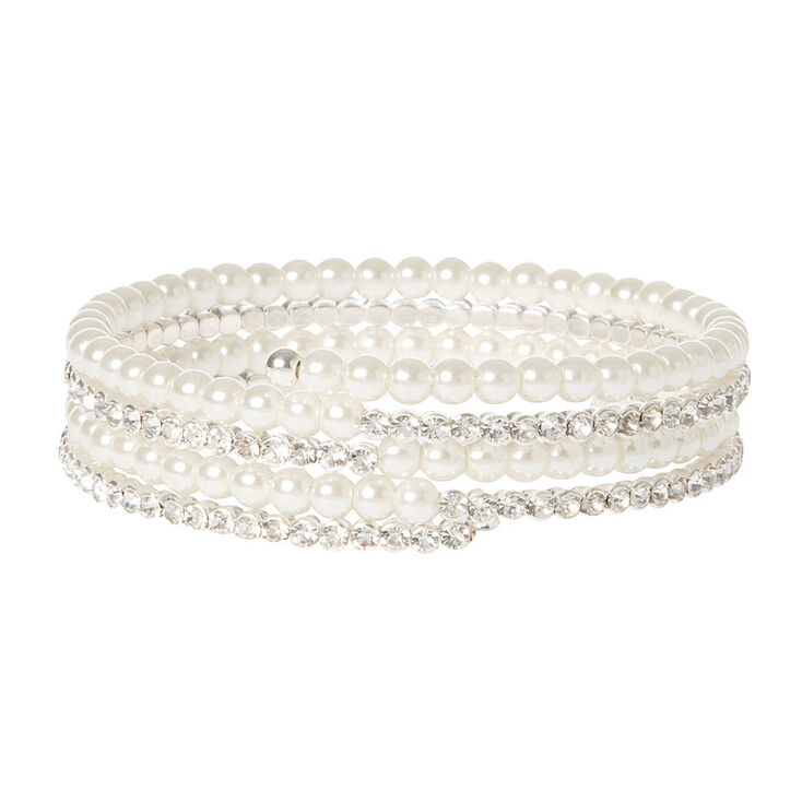 Pearl & Rhinestone Coil Bracelet,