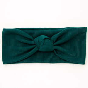 Ribbed Knotted Headwrap - Hunter Green,
