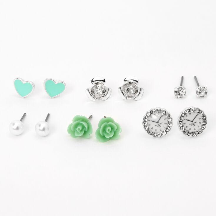 Silver Rose Pearl Stud Earrings - Blue, 6 Pack,