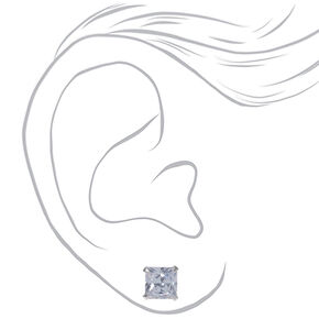 Sterling Silver Cubic Zirconia 7MM Square Stud Earrings,