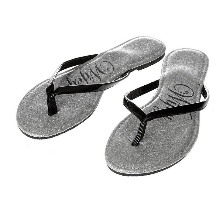 870c366ba Icing Wifey Silver Glitter Faux Patent Leather Flip Flops