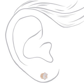 Rose Gold Cubic Zirconia Round Stud Earrings - 7MM,