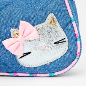 Claire's Club Quilted Denim & Floral Cat Handbag,