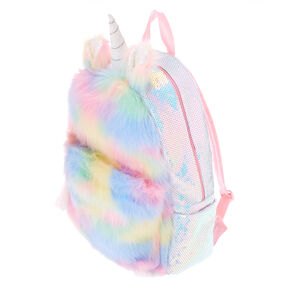 Fluffy Pastel Rainbow Unicorn Medium Backpack,