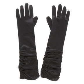 Satin Ruched Gloves - Black,