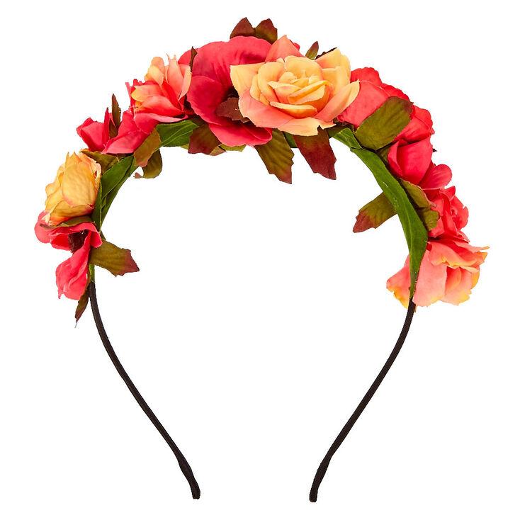 Serre-tête à fleurs sauvages roses coucher de soleil,