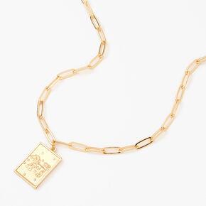 Gold Rectangle Zodiac Symbol Pendant Necklace - Leo,