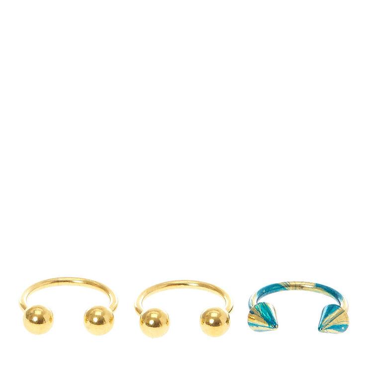Lot de piercings sourcils couleur doré et bleu,