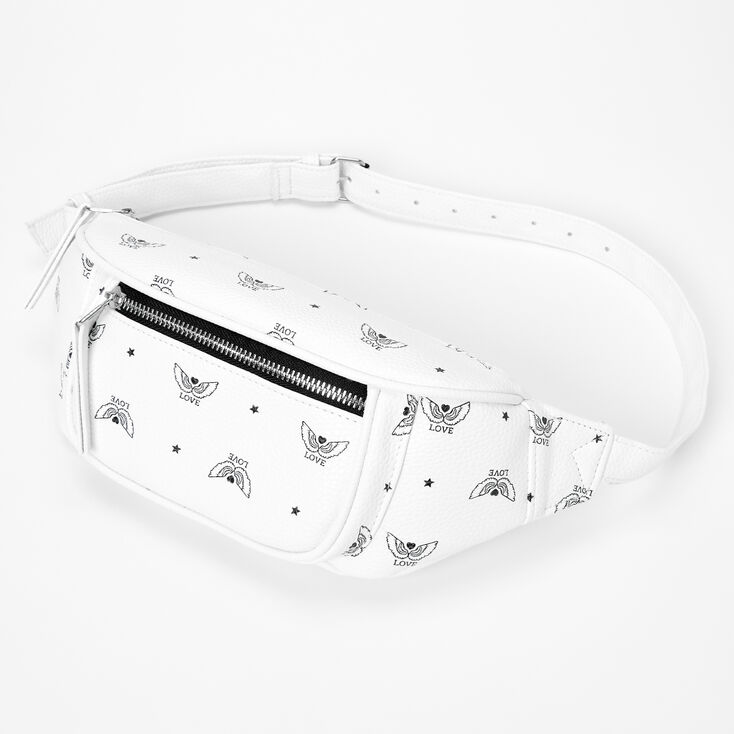 Wings of Love Faux Leather Fanny Pack - White,