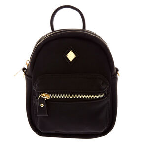 Faux Leather Mini Backpack Crossbody Bag - Black,
