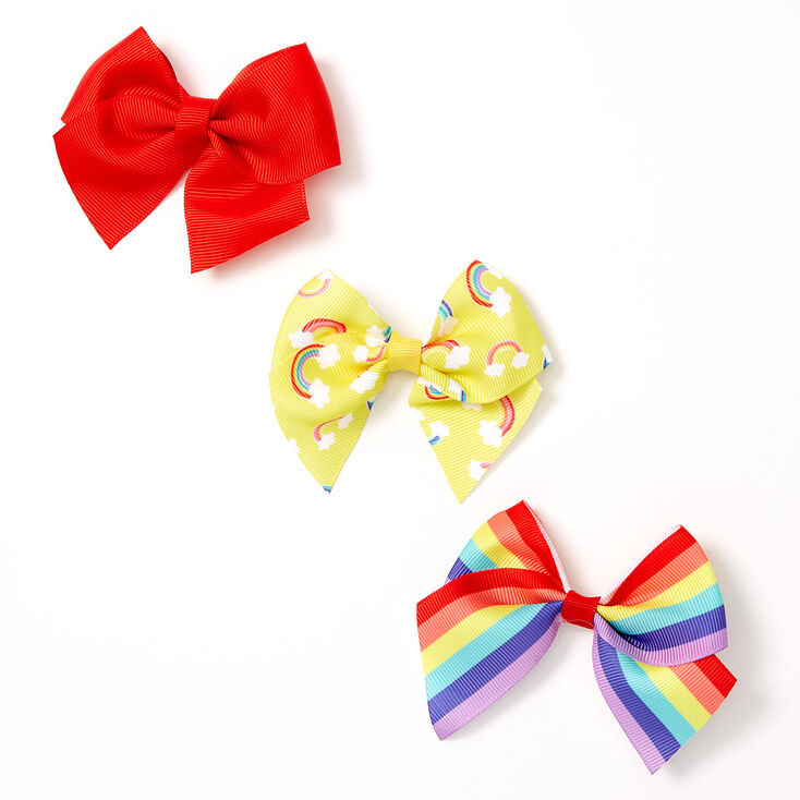 Claire's Club Rainbow Striped Bow Hair Clips - 3 Pack,