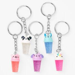 BFF Glitter Bubble Tea Keychains - 5 Pack,