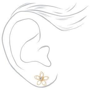 Mixed Metal Wired Flower Stud Earrings - 3 Pack,