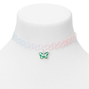 Mood Butterfly Tattoo Choker Necklace - Pink,