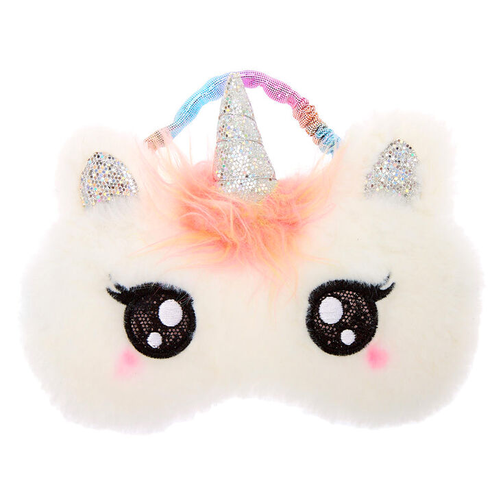 Claire's Club Pastel Unicorn Sleeping Mask - White,