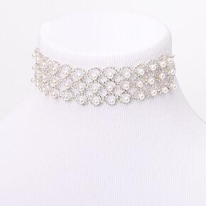 Silver Rhinestone Peekaboo Bubble Pearl Choker Necklace,