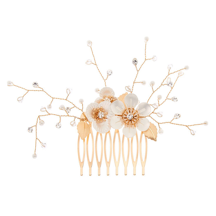 Gold Floral Hair Comb - White,