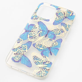 Blue Butterfly Protective Phone Case - Fits iPhone 12 Pro Max,