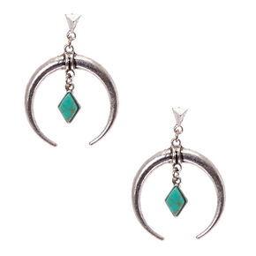 Burnished Silver Tone Crescent  and Turquoise Stone Diamond Drop Earrings,