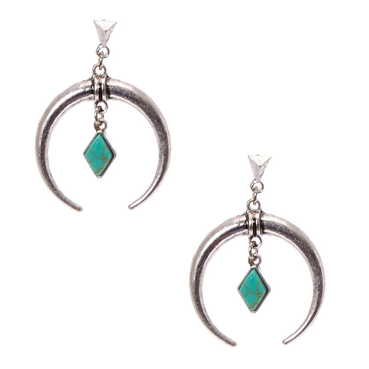 Pendants d'oreilles avec croissant couleur argenté patiné et pierre couleur turquoise en forme de diamant d'imitation,